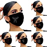 Chritmas Face Masks Washable Flash Diamond Rhinestone Face Mask Reusable, Breathable, for Christmas New Year, Valentine's Day, Party