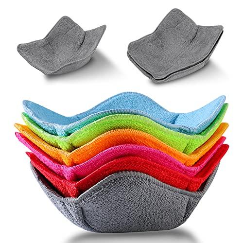 8 Pieces Bowl Huggers 2 Sizes Microwave Safe Bowl Huggers Color Bowl Holder Polyester Hot Bowl...