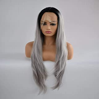 Fashian Long Straight Grey Wigs for Women Synthetic Full Hair Natural Wig with Bangs for Cosplay Costume Or Daily Life DIY Fun (Color : Gray)