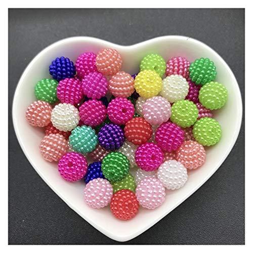WESET 10 mm 50 unids Perlas de acrílico Bayberry Cuentas Redondas Perlas Sueltas Aptos para joyería Haciendo Accesorios (Color : 13)