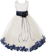 Ivory Satin Bodice Floating Flower Petals Girl Dress Double Tulle - 25 Colors