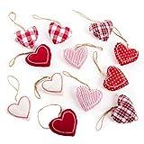 Logbuch-Verlag 12 kleine Herz Anhänger rot weiß Stoffherzen mit Schnur Hochzeitsdeko Weihnachtsdeko Geschenkanhänger Muttertag Valentinstag Christbaumschmuck