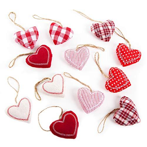 Logbuch-Verlag 12 pequeños colgantes de corazón rojo y blanco con cuerda, decoración de boda, Navidad, regalo para el Día de la Madre, San Valentín, decoración para árbol de Navidad