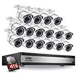 ZOSI H.265+1080p 16 Channel Security Camera System,16 Channel DVR with Hard Drive 4TB and 16 x Outdoor Indoor CCTV Bullet Camera 1080p with 120ft Long Night Vision and 105°Wide Angle