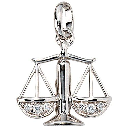 Sternzeichen Anhänger Waage mit Zirkonia - Kettenanhänger Sternzeichen 925 Sterling Silber rhodiniert 18x17.5mm