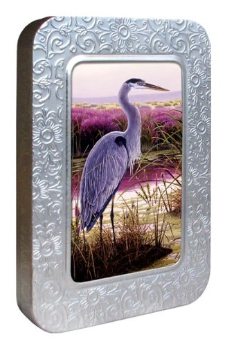 Tree-Free Greetings Noteables Notecards In Reusable Embossed Tin, 12 Card Assortment, Recycled, 4 x 6 Inches, Great Blue Heron, Multi Color (76095)