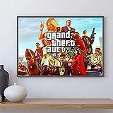 WDQFANGYI Póster De GTA 5, Pintura En Lienzo, Arte De Pared, Grand Theft Auto V, Gameprints, Pegatina De Barra, Mural, Decoración De Dormitorio, 50X70Cm (FLL7372)