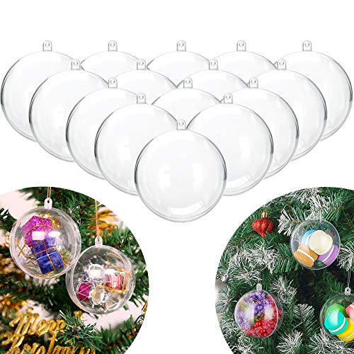 Haawooky 15 Pack Plastic Fillable Ball Ornament Clear Fillable Ornaments Balls,4 Inch/10cm Transparent Ball for Christmas,Wedding,Party,Home Decor