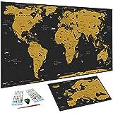 WIDETA Carte du monde à gratter Français, (82 x 43 cm)/ Poster plastifié extra épais 300 g/m2 /...