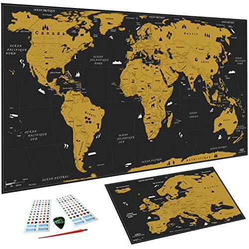 WIDETA Carte du monde à gratter Français, XXL (82 x 43 cm)/ Papier plastifié extra épais 300 g/m2 / Bonus carte d' Europe et accessoires de grattage