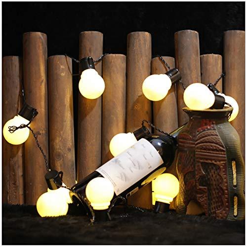 Cadena De Luz Solar Al Aire Libre LED Luces De Hadas Impermeables Para árbol De Navidad Jardín Terraza Valla Fiesta De Bodas Y D(Color:Blanco cálido,Size:Milky white bulb 2.5 meters 10 lights + solar)