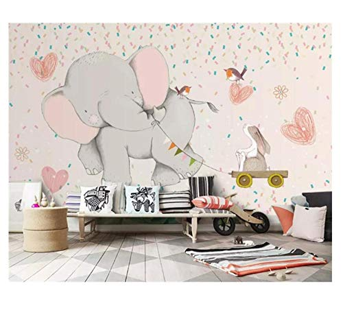 CZYSKY Wandmalereien Wallpaper 3D, Elefant, Kaninchen, Vogel, Rosafototapete Schlafzimmer Kinderzimmer Wohnzimmer Fototapeten Motivtapete, 300x210cm