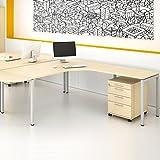 Weber Büro Winkelschreibtisch mit Rollcontainer NOVA XL 180x200cm Ahorn Eck-Schreibtisch