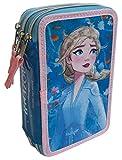 Astuccio Scuola 3D Frozen Disney Elsa MULTISCOMPARTO 3 Zip PORTACOLORI Carioca - FZN0630