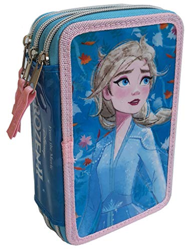 CARTOON GROUP Astuccio Scuola 3D Frozen Disney Elsa MULTISCOMPARTO 3 Zip PASTELLI Fila PENNARELLI Giotto - FZN0632