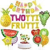 Kreatwow Twotti con Sabor a Fruta Decoraciones de cumpleaños Artículos para Fiestas Twotti Frutti Balloons Cupcake Topper UVA Piña Globos de sandía para 2do cumpleaños Baby Shower