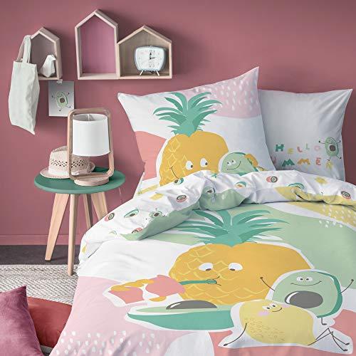 MATT & ROSE Tutti Frutti - Juego de Cama Infantil (algodón, 140 x 200 cm + 63 x 63 cm), Color Rosa