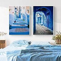 モロッコの装飾モロッコの写真旅行のポスターとプリント旧市街の建築ファインアートプリントキャンバス絵画家の装飾| 60x80cmx2Pcs /フレームなし