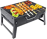 Charcoal Grill Barbecue Portable BBQ - Stainless Steel Folding Grill Tabletop Outdoor Smoker BBQ for Picnic Garden Terrace Camping Travel 15.35''x11.41''x2.95'' (1-3people)