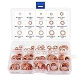 Aussel 15 tamaños Kit de surtido de anillo de sellado plano para lavadora de cobre plano 150 Piezas (15 Size 150PCS)