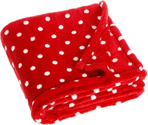 Playshoes Baby und Kinder Fleece-Decke, vielseitig nutzbare Kuscheldecke für Jungen und Mädchen, 75 x 100 cm, gepunktet mit Punkt-Muster