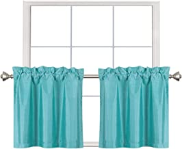 Home Queen Faux Silk Rod Pocket Tier Curtains for Small Window, Short Room Darkening Kitchen Curtains, Café Drapes, 2 Panels, 30 W X 24 L Inch Each, Solid Aqua