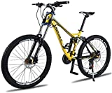 LBWT Unisex Folding Mountain Bike, 26 Inch MTB Bicycle, Aluminum Alloy Frame, 24/27 Speed, Dual Suspension, with Double Disc Brake (Color : Yellow, Size : 24 Speed)