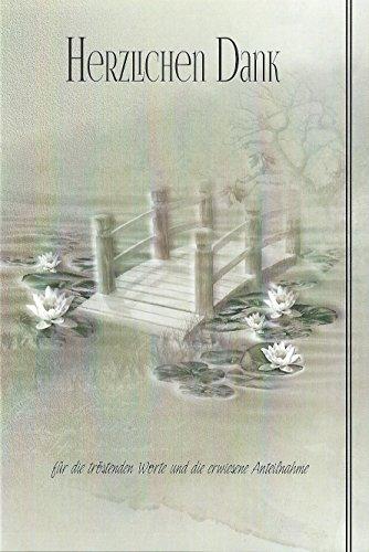 Trauer Danksagungskarten Trauerkarten ohne Innentext Motiv Teich Brücke 10 Klappkarten mit weißen Umschlägen Dankeskarten Dankeschön Karten Danke sagen (K/H33)