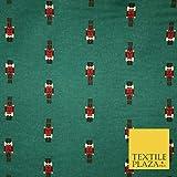 Flaschengrüner Weihnachts-Nussknacker-Stoff, gebürstete