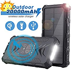 Solar Phone Chargers - Uplayteck 20000mAh Portable Charger Power Bank with 4 Outputs - USB C - LED Flashlight - Rainproof Battery Bank for Hiking Camping Outing