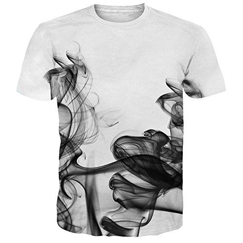 NEWISTAR Unisex Jugend 3D Druck Grafik Casual Kurzarm T-Shirt , Rauch, XL