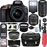 Nikon D5600 24.2MP DX-Format DSLR Camera with AF-P 18-55mm VR & 70-300mm ED Lens Kit Bundle with Camera Lens, 32GB Memory Card and Accessories (14 Items)