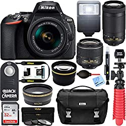 Nikon D5600 kit system showing camera with various accessories - - Clicking this image will take you to the Amazon sales page for the product