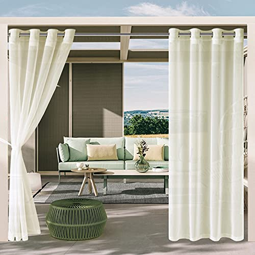 DWCN Outdoor Curtains for Patio - White Semi Voile Waterproof Sheer Curtains for Gazebo, Pergola, Porch, Set of 2 Window Curtain Panels with 2 Tieback Ropes, 52 x 95 Inches Long, Ivory