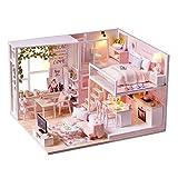 Weehey Kit de casa de muñecas de Bricolaje en Miniatura Loft Realista Mini habitación de casa de Madera de Color Rosa 3D con Muebles Luces LED Regalo de cumpleaños del día de los niños de Navidad
