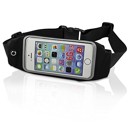 Preisvergleich Produktbild PsmGoods Runner Packung Jogging Gurt-Taillen-Beutel für iPhone 6s 6Plus 6 5s ID Geld Smartphone Key Schwarz