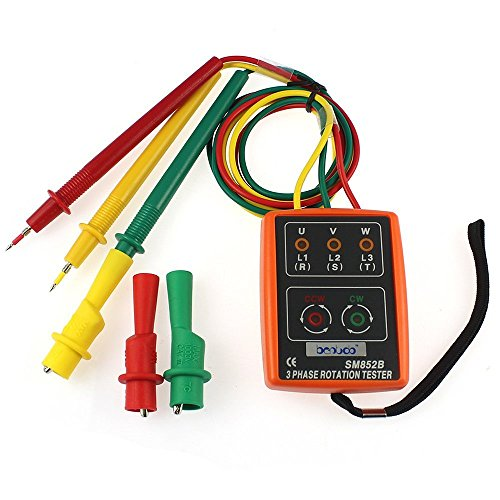 WFWJSKJ Détecteur indicateur de Rotation de la séquence 3 indicateur détecteur LED Buzzer avec Poche Portable TD-LED02 SM852B