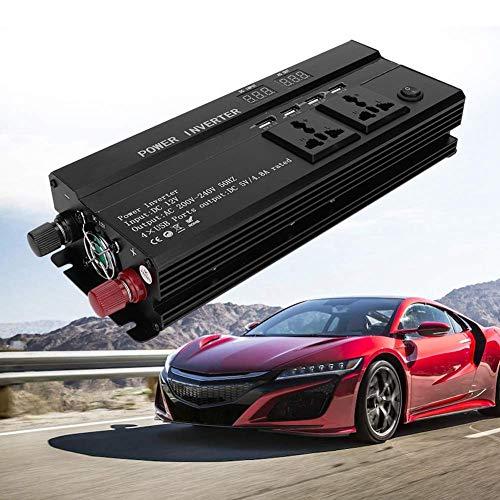WYZXR Inversor de Corriente para automóvil, Adaptador para vehículo 5000W 12V a 220V Pantalla LCD Convertidor de Corriente para automóvil Adaptador de Cargador USB