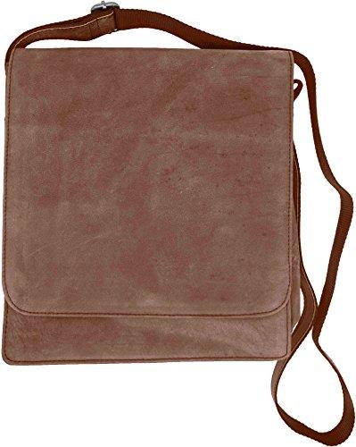 Genuine Cowhide Brown Leather Vertical Laptop Messenger Shoulder Bag