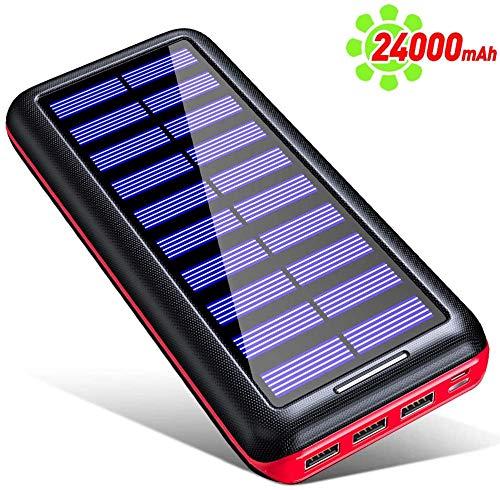 KEDRON Externer Akku 24000mAh Solar Powerbank, Solar Ladegerät mit 3 Ausgänge und Lighting & Micro 2 Eingänge Power Bank Handy für Smartphones-Rot