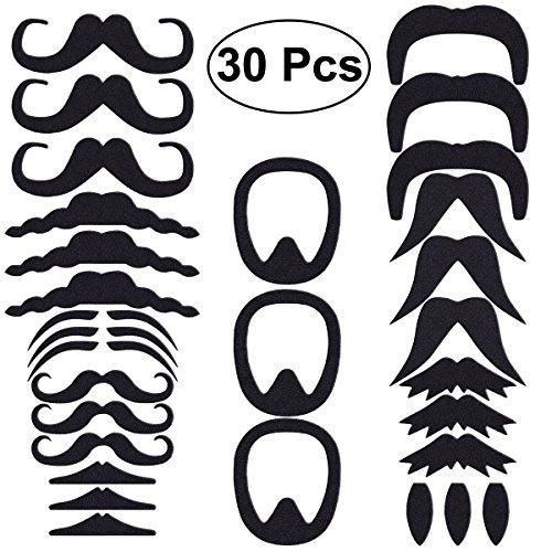 LUOEM Selbstklebende Gefälschte Mustaches Realistische Gefälschte Schnurrbart für Neuheit Kostüm Maskerade Halloween Party Leistung, Pack von 30 (Schwarz)