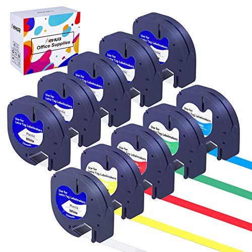Hehua Compatible Label Tape Replacement for Dymo LetraTag Refills Plastic 91331 91332 91333 91334 91335 Label Maker Tapes for LT-100H LT-100T Plus LT-110T QX50 2000 XR ( 12mm x 4m, 10-Pack )