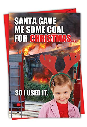 Coal for Christmas - Funny Merry Christmas Note Card with Envelope (4.63 x 6.75 Inch) - Naughty Girl on Holiday List, Xmas Note Card for Kids, Women - Happy Holidays Stationery 1850