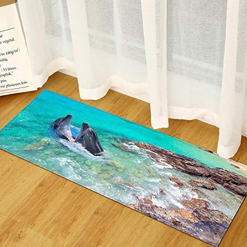 XIAOZHANG Alfombra Cocina Franela Suave Vista De Delfines del Mar Decoración para El Hogar Alfombrillas De Cocina Alfombras De Dormitorio Antideslizantes Sofá Mesa Alfombras De Noche 60X90Cm