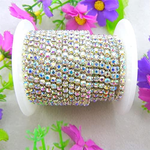 Cadena de copa de diamantes de imitación 10 yardas / r Crystal de alta densidad AB Color claro Rhinestone Silver Base Cerrar Casca Cadena Coser en pegamento en para la artesanía DIY Usado para; coser