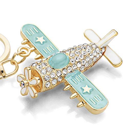 BYBDYSK Sleutelhanger Vliegtuig Sleutelhangers Ringen Houder Bloem Ster Crystal Strass Portemonnee Tas Gesp Hanger Sleutelhangers Sleutelhangers Blauw