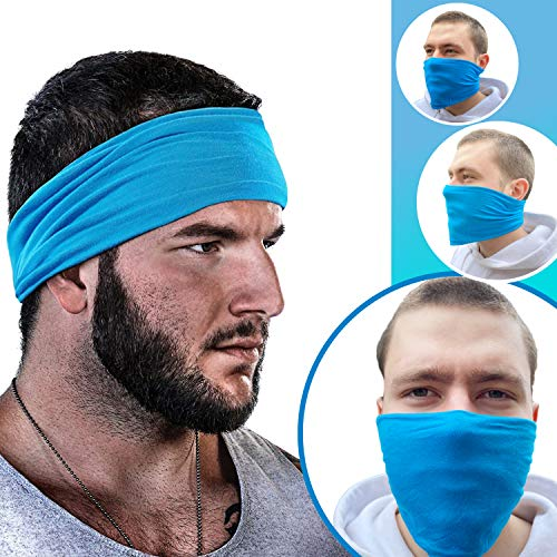 GearTOP Headbands for Men & Women, Sweatband, Face Mask, Multi-Functional Headband for Yoga, Workout, Crossfit, Running, Sports & Outdoors - Elastic, Sweat-Wicking, Breathable, Cooling (Light Blue)