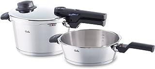 Fissler vitavit comfort / Juego de ollas a presión (2,5 + 4,5 litros, Ø 22 cm) de acero inoxidable, 2 niveles de cocción, apta para cocinas de inducción, gas, vitrocerámica y eléctricas