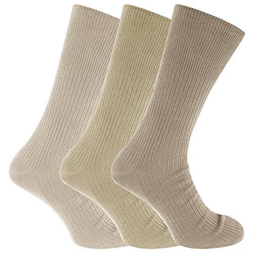 Universaltextilien Herren Big Foot Diabetiker Socken (3 Paar) (45-49 EU) (Beigetöne)