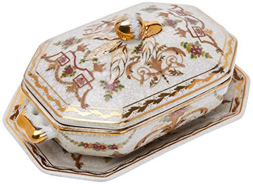 Better & Best P Florero Oro Sopera de cerámica, octogonal, con asas de bronce, con tapa y plato, decorada con motivos florales, medidas 20x13x10 cm